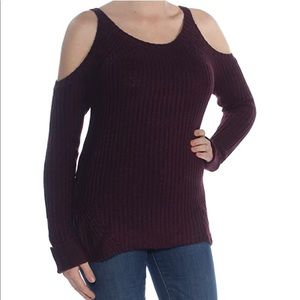 Hippie Rose Cold Shoulder Ribbed Knit Sweater